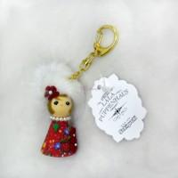 Sekiguchi Otome Kokeshi Ribbon Chan Keychain White Fur 225064