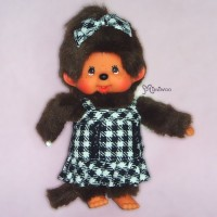 Monchhichi S MCC Girl Plush B&W Checker Dress Fashion 239760