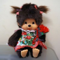 Monchhichi Sitting Plush Fleu Girl Strawberry Dress MCC 259939