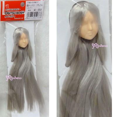 27HD-F01NC17 Obitsu 1/6 Doll Natural Head 01 Long Hair Silver