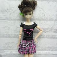 1/6 BJD Outfit Low Waist Skirt + Tee HEART 400100