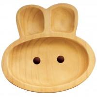 AVLF1020 Japan Baby Kids Wooden Plate Petits et Maman Rabbit