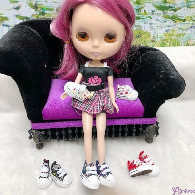 1/6 Bjd Neo B Denim Doll Shoes Color Dots Sneaker Purple SHP008PUE