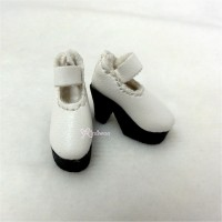 SHP116WHE Blythe Momoko Maryjane Shoes High Heel Boots White