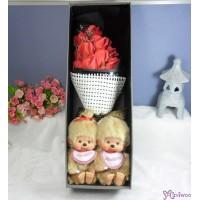 Monchhichi S Size Beige + 情人節 肥皂花 花束 Soap Flower Rose Gift Box Set
