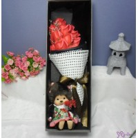 Monchhichi S Size Fleur Girl + 情人節 肥皂花 花束 Soap Flower Rose Gift Box Set