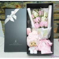 Melody Monchhichi Mascot + 情人節 肥皂花 花束 Soap Flower Rose Gift Set S002