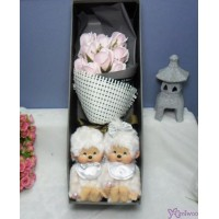 Monchhichi S Size Platinum + 情人節 肥皂花 花束 Soap Flower Rose Gift Box Set