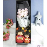 Monchhichi & Bebichhichi Scarlet Maple Leaves 紅葉 + 情人節 肥皂花 花束 Soap Flower Rose Gift Box Set