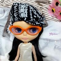 HSM011ORE04 Blythe Doll Plastic Mimi Orange Glasses Purple Lens