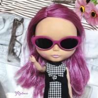 "HSM011PNK02 12"" Blythe Doll Mimi Plastic Pink Glasses Black Lens"