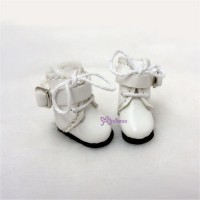 Middie B 2.2cm Doll Shoes Buckle Boots White SBB006WHE