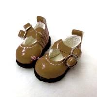 LYS002LBN 16cm Lati Yellow Basic Doll Cross Strap Shoes Brown