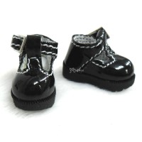 LYS022BLK 16cm Lati Yellow Basic Doll T-Strap Buckle Shoes Black