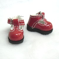 LYS022RED 16cm Lati Yellow Basic Doll T-Strap Buckle Shoes Red