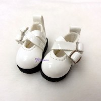 LYS002WHE 16cm Lati Yellow Basic Doll Cross Strap Shoes White