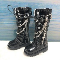 SHM074BLK MSD DOC 1/4 Bjd Doll Shoes Cross & Chain Boots Black