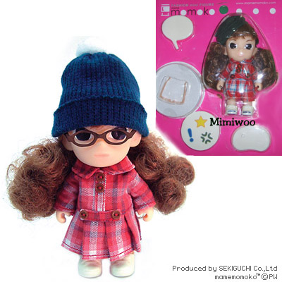 Mame Momoko Curl Hair Checker Dress Girl Mini Figure 10cm Doll 215400