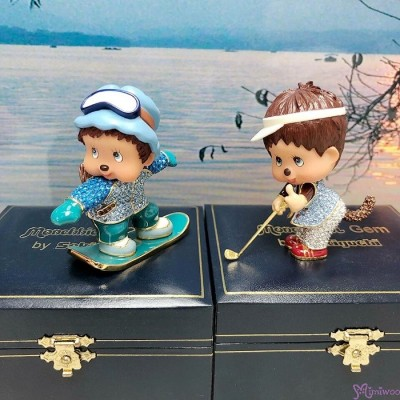 Monchhichi Gem Jewelry Swarovski Crystal Figure - Snow Boarder 水晶公仔 擺設 1514