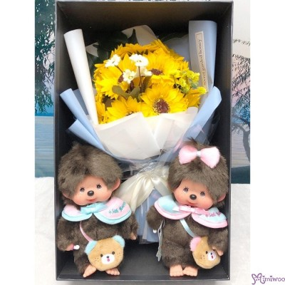 Monchhichi Happy Trip 公仔 + 肥皂花 花束 太陽花 Soap Flower Rose Gift Set