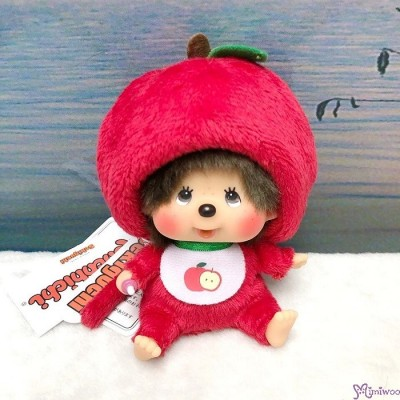 Apple Monchhichi 14cm SS Size Plush Mascot Bean Bag Sitting  蘋果 吊飾 201242