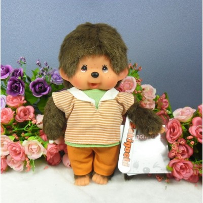 Monchhichi 20cm Plush Dressed MCC Orange Stripe Boy 222960