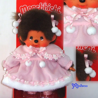 Monchhichi S Size MCC Pink Dress Twin Tail Girl with Shoes 232460