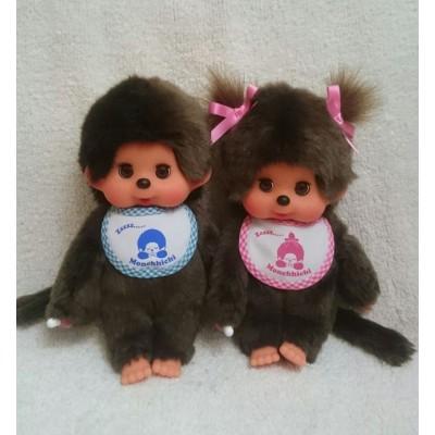 眨眼 Monchhichi 20cm Move Eyes with Pink Sleep Bib Girl 233069