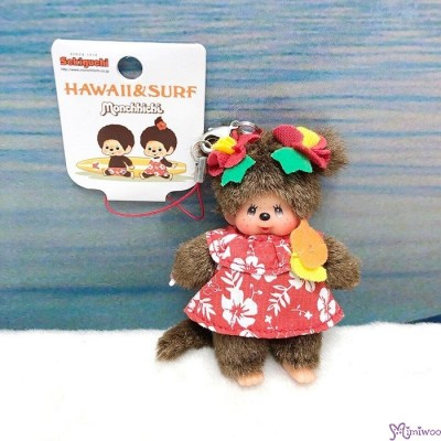 Monchhichi Cell Phone Strap Mascot Hawaii & Surf Girl 夏威夷 吊飾 234700