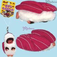 Monchhichi 8cm Plush Sushi Mascot Phone Strap Tuna  壽司吊飾 金槍魚  234740