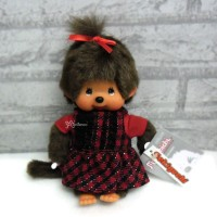 Monchhichi 2010 Dressed MCC Red Black Checker Dress Girl 239770
