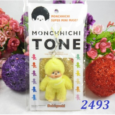 Monchhichi Tone 7.5cm Plush Mini Mascot Keychain Phone Strap - Yellow 2493
