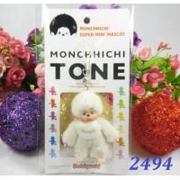 Monchhichi Tone 7.5cm Plush Mini Mascot Keychain Phone Strap - White 2494