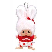"Monchhichi Mascot Chimutan I Love Strawberry Bunny Plush 250547 ""PRE-ORDER"""