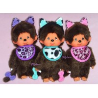 Monchhichi Cat Ear S Size MCC Plush (3pcs Set) 貓耳 ~ RARE ~~ 254620+30+40