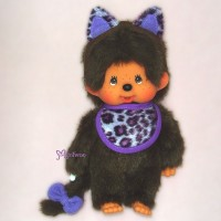 Sekiguchi Monchhichi Cat Ear S Size MCC Plush Purple 貓耳 ~ RARE ~~ 254640