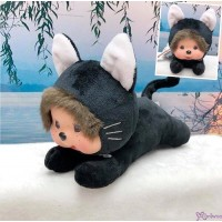 Monchhichi S Size 15cm Plush Animal Lying Cat Black 爬行 黑貓  255269 ~ NEW ARRIVAL