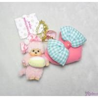 Sweet Monchhichi Mascot Keychain Pink Cake 吊飾 連 心心 拉鍊 袋 255730