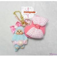 Sweet Monchhichi Mascot Keychain Blue Candy 吊飾 連 心心 拉鍊 袋 255740