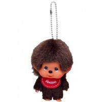 Big Head Monchhichi Mascot SS Size Keychain Red Bib Boy 大頭 吊飾 257120