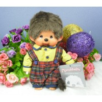 Monchhichi S Size MCC Overall Red Green Checker Pants Boy 2585HK