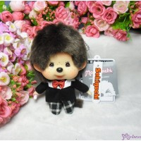 Monchhichi Big Head Mascot Keychain Black Checker Boy 大頭 公仔 格仔衫 258888