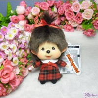 Monchhichi Big Head Mascot Keychain Red Checker Girl 大頭 公仔 格仔衫 258895