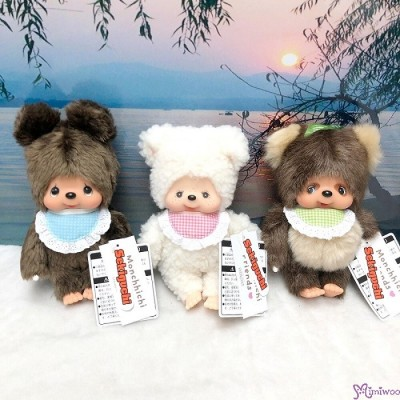 Monchhichi Friends S Size Plush Bear + Sheep + Raccoon 262243+50+67 (3pcs Set)