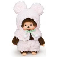 Monchhichi S Size Plush MCC Amimal Cape - Pinkn Bunny 292650