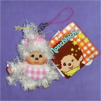 Sekiguchi Monchhichi Mokomoko 9cm Plush Mascot Pink Fur Girl 293710