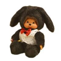 Monchhichi 20cm Dressed MCC Stuffed Plush Bunny Rabbit Black 298620
