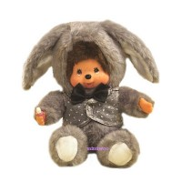 Monchhichi 20cm Dressed MCC Stuffed Plush Bunny Rabbit Grey 298640