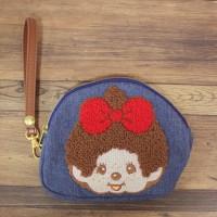Monchhichi Pouch Zipper Hand Bag Girl 刺繡 手袋仔 (可袋八達通) 300100