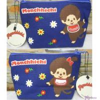 Monchhichi 13x22cm Flower Hand Bag 花花 雙面圖案 牛仔布 拉鍊 袋 30018